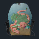 "Coral Dragon Ocean Fantasy Courier Bag<br><div class=""desc"">Lovely fantasy messenger bag features a cute resting dragon in green and coral resting on sand,  sea shells and gem stones with soft aqua blue water background.</div>"