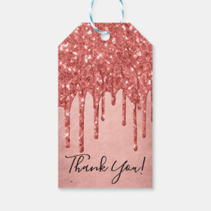 f0bb1ee66dffb Coral Drip   Trendy Melting Glitter Thank You Gift Tags