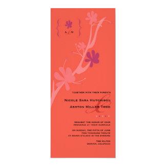 Coral e invitación floral del boda del verano de