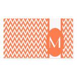 Coral Elegant Chevron Monogram Business Card