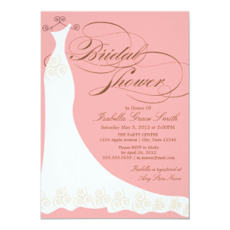 Coral Elegant Dress | Bridal Shower Invitation
