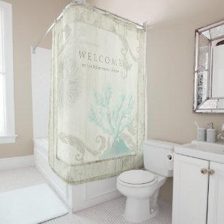 Coral elegante del azul de la aguamarina de los cortina de baño