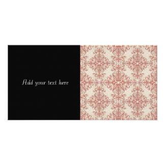 Coral elegante y del damasco blanco del estilo del tarjetas fotograficas personalizadas