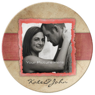 Coral Engagement Photo Rustic Vintage Wedding Dinner Plate
