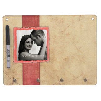 Coral Engagement Photo Rustic Vintage Wedding Dry Erase Board With Keychain Holder