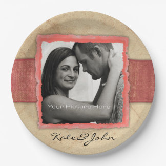 Coral Engagement Photo Rustic Vintage Wedding Paper Plate