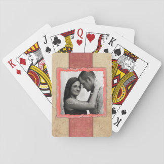 Coral Engagement Photo Rustic Vintage Wedding Poker Cards