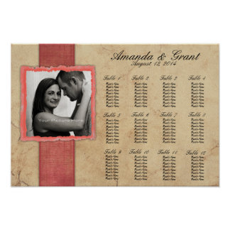 Coral Engagement Photo Rustic Vintage Wedding Poster