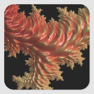 coral especial del fractal naranja calcomania cuadradas personalizada