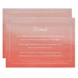 Coral Fade Sunset Beach Wedding Insert Card