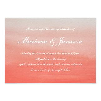 Coral Fade Sunset Beach Wedding Invitation