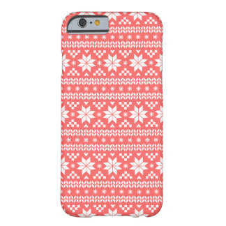 Coral Fair Isle Christmas Sweater Pattern Barely There iPhone 6 Case