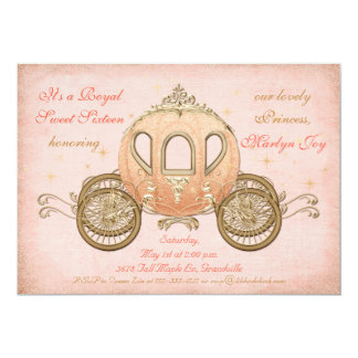 Coral Fairytale Princess Sweet 16 Invitations