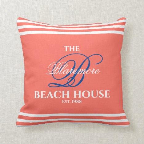 Coral Family Name Blue Initial Beach House Throw Pillow