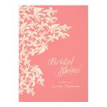 Coral Fancy Fleur de Lis Damask Bridal Shower Invitations