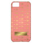 Coral Faux Gold Foil Arrows Pattern iPhone 5C Case