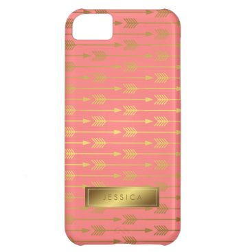heartlocked Coral Faux Gold Foil Arrows Pattern iPhone 5C Case