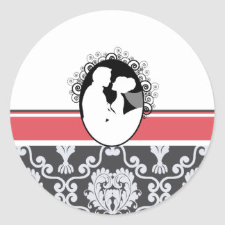Coral First Kiss Wedding Seal Classic Round Sticker