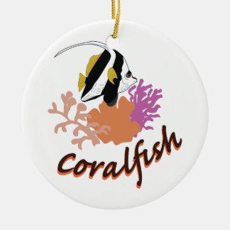 Coral Fish Round Ceramic Ornament