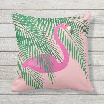 Beach Themed Coral Flamingo Pillow - Outdoor