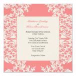 Coral Fleur de Lis Modern Wedding Card