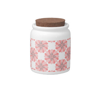 Coral Floral Candy Jar