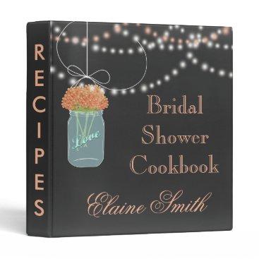 coral floral Chalkboard Mason Jar Recipe Folder