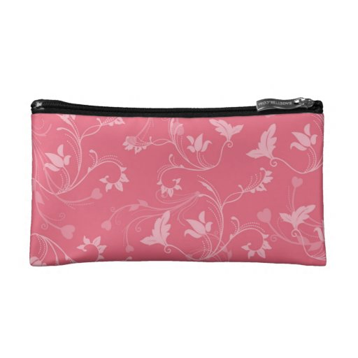 Coral Floral Cosmetic Bags