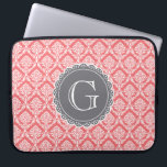 """Coral Floral Damask Pattern Grey Monogram Computer Sleeve<br><div class=""""desc"""">A trendy,  modern,  girly,  floral damask pattern in pink coral and white with a slate grey lace inspired monogram template.</div>"""