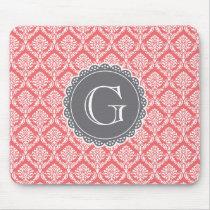 Coral Floral Damask Pattern Grey Monogram Mouse Pad