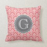 Coral Floral Damask Pattern Grey Monogram Throw Pillows