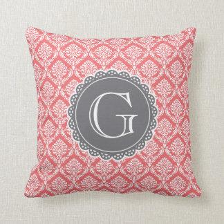 Coral Floral Damask Pattern Grey Monogram Throw Pillow