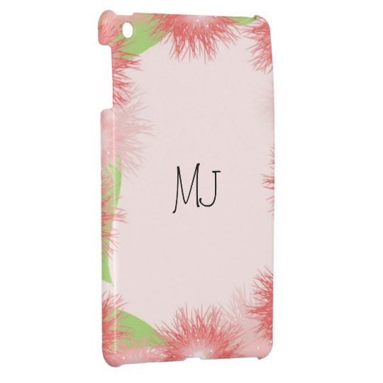Coral Floral Initial Design Cover For The iPad Mini
