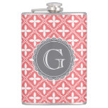 Coral Floral Lattice Pattern Grey Monogram Flask