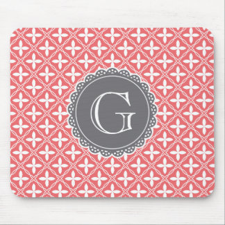 Coral Floral Lattice Pattern Grey Monogram Mouse Pad