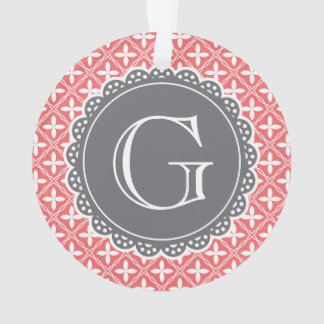 Coral Floral Lattice Pattern Grey Monogram Ornament