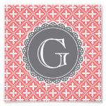 Coral Floral Lattice Pattern Grey Monogram Photo Print