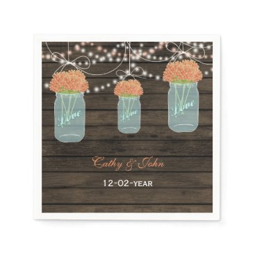 coral floral mason jar personalized wedding napkin