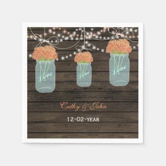 coral floral mason jar personalized wedding napkin paper napkins