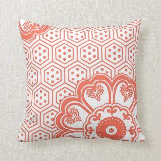 Coral Floral Pattern Retro Pillow