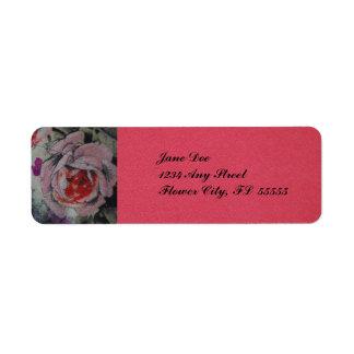 Coral Floral Return Address label. Custom Return Address Label