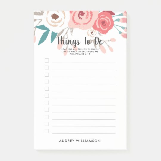 coral floral scripture personalized to do list post it notes