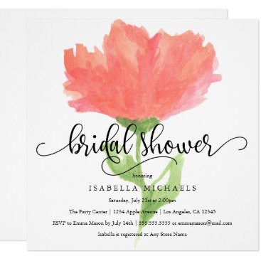 PinkMoonPaperie Coral Floral Watercolor | Bridal Shower Invite