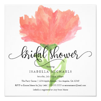Coral Floral Watercolor   Bridal Shower Invite
