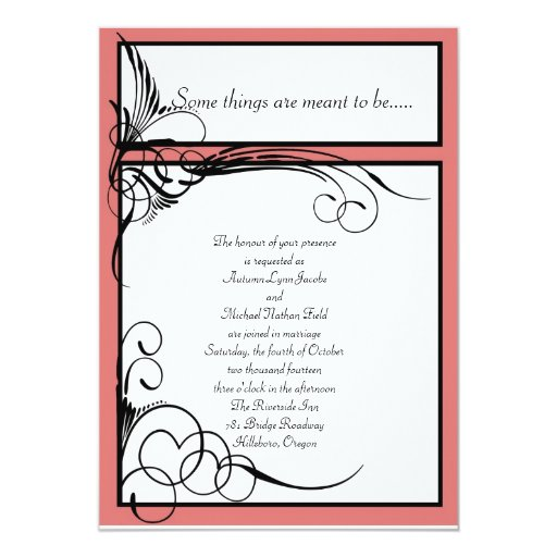Coral Floral Wedding Invitations