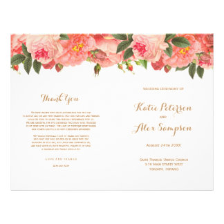 Coral Floral Wedding Programs