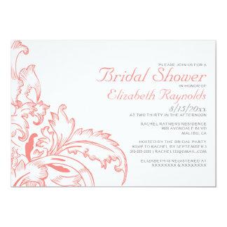 Coral Flourish Bridal Shower Invitations