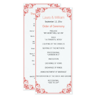 Coral Flourish Wedding Program