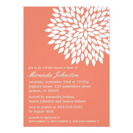 Coral Flower Design Bridal Shower Invitations