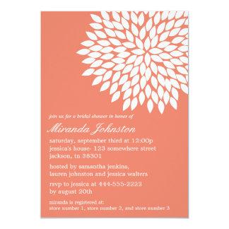 "Coral Flower Design Bridal Shower Invitations 5"" X 7"" Invitation Card"